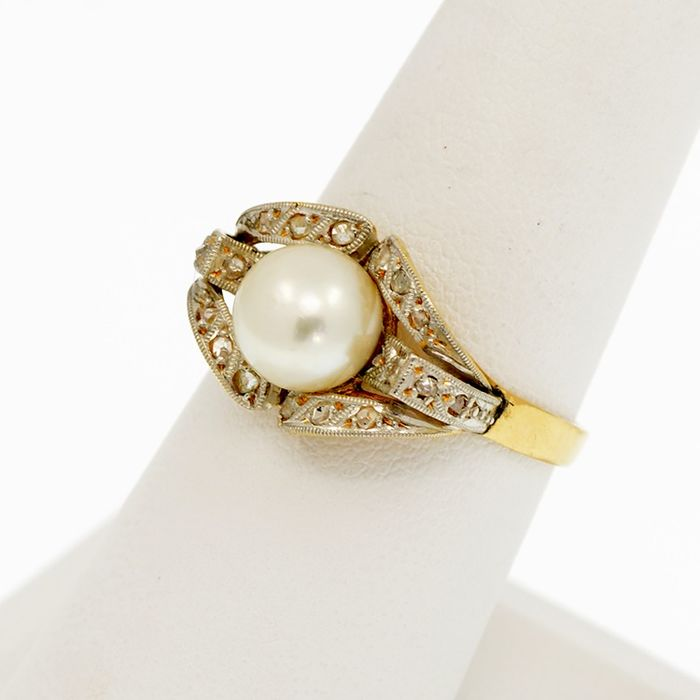 18 kt. Platinum, Saltwater pearls, Yellow gold - Ring Pearl - Diamond