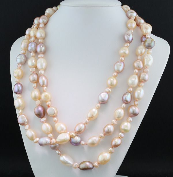 Multicolor freshwater pearls - Necklace Extra long 1.40 meters, apricot, pink, light gold, silver max 15 x 10 mm Beautiful chandelier --- no