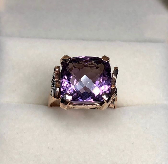 Pink gold - Ring Amethyst - Diamonds