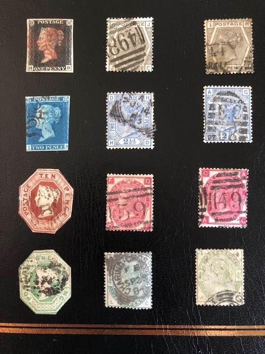 Great Britain 1840/1884 - QV: Penny Black 4 Mgs, Two pence Blue Mx number 12, 10d Brown, 1s Green. Others. - Stanley Gibbons 2, 14, 54, 57, 103, 147, 157, 192.