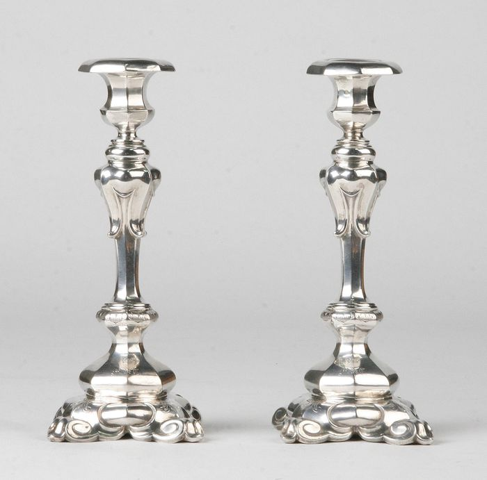 Candlestick (2) - .833 silver - Netherlands - mid 19th century