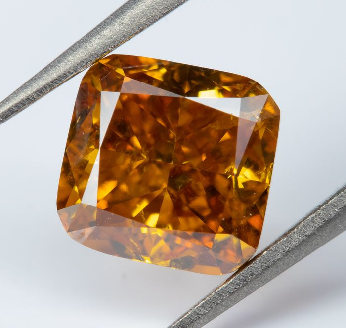 Diamante - 1.00 ct - Fantasía natural VIVID naranja-amarillo - SI1  *NO RESERVE*