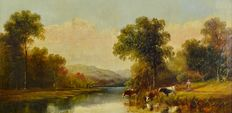 Henry Harris. (1852-1926) - River landscape with cattle watering