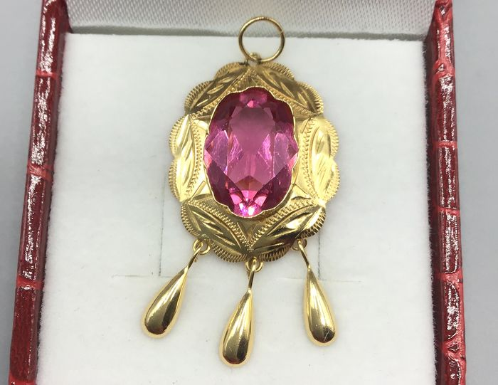 18 kt. Yellow gold - Pendant Rose of France