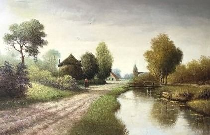 H Verhaaf (1892-1970) - Hollands landschap