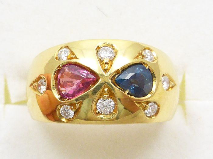 18 kt. Yellow gold - Ring 1.32ct Sapphire, Ruby and Diamond