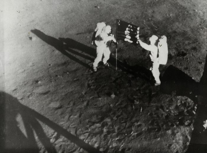 Unknown/NASA/Keystone - Neil Armstrong and Buzz Aldrin Plant Flag on the Moon, 1969