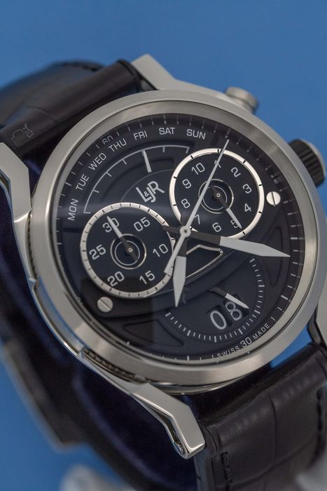 "L&Jr - Chronograph Day and Date Black Dial with Black Strap Swiss Made - S1502 ""NO RESERVE PRICE"" - Heren - Brand New"