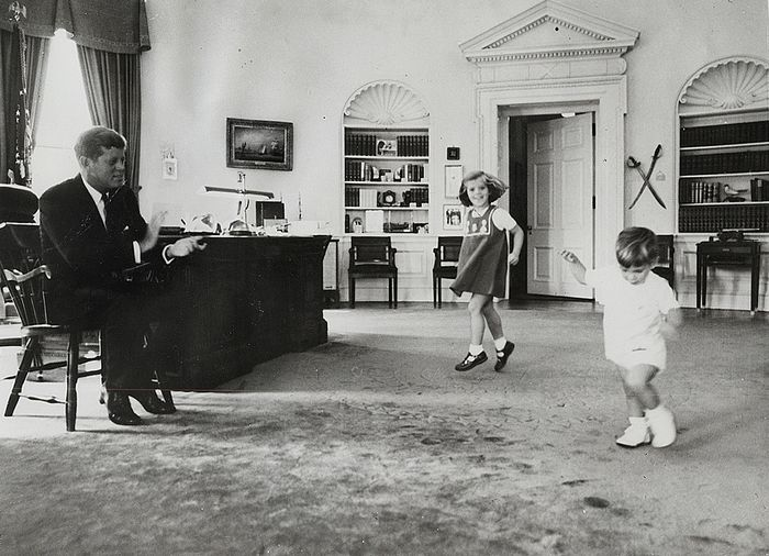 Cecil Stoughton (1920-2008) / Keystone - President John F. Kennedy Watches His Children Dance in the Oval Office, 1962