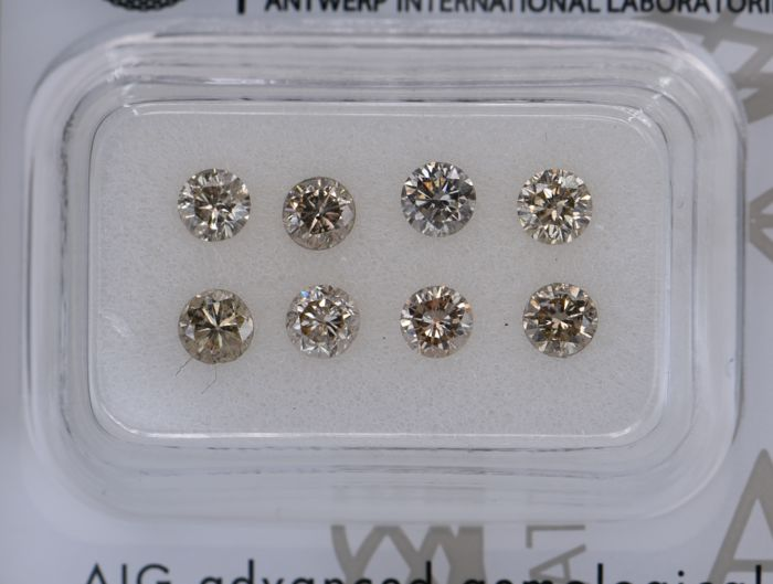 8 pcs Diamant - 1.25 ct - Rund - light brown - SI1, SI2, No Reserve Price!