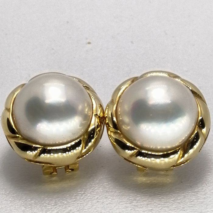 18 kt. Gold - Earrings pearl mabe