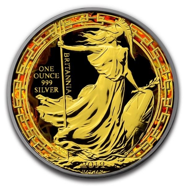 United Kingdom - 2 Pound 2019 Britannia Burning Oriental Border Ruthenium Gilded  - 1 Oz - Silver