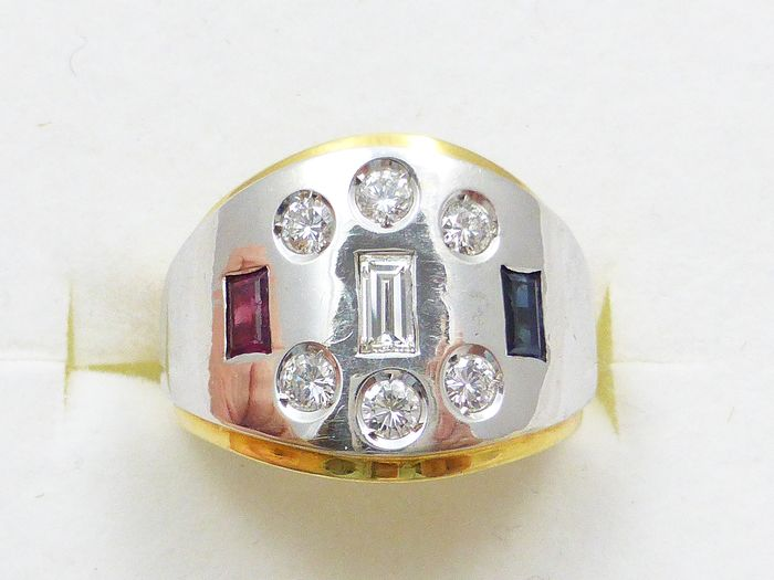 18 kt. White gold, Yellow gold - Ring - 0.56 ct Diamond - Ruby, Sapphire