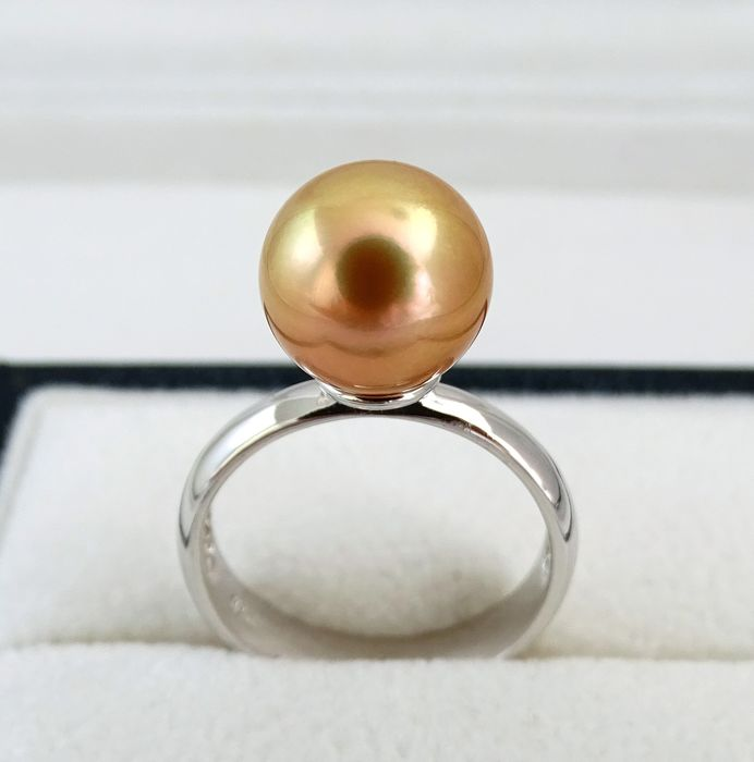FedEx DELIVERY -  Golden south sea pearl, Natural 24K Golden Saturation True AAA 10.5 mm - Ring, 925 Sterling Silver  - Ring Size Selectable - 8.18 ct
