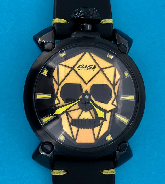 GaGà Milano - Manuale Bionic Skull 48MM Black PVD Yellow LIMITED EDITION Swiss Made - 506201S - Unisex - BRAND NEW