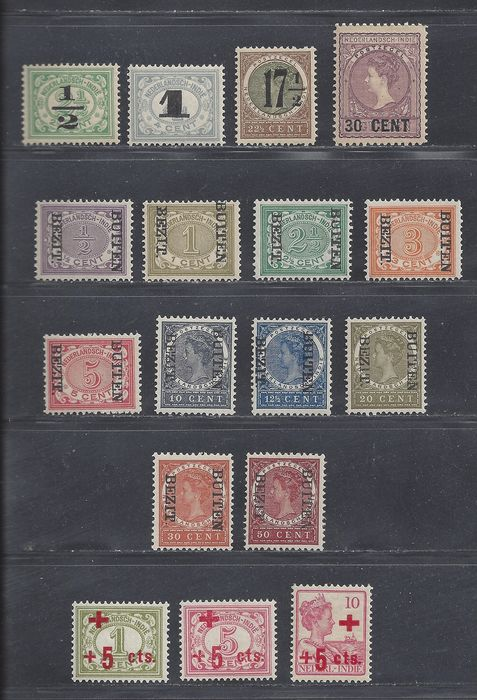 Niederländisch-Indien 1908/1918 - Inverted overprint 'Buiten Bezit'. Aid issue and Red Cross - NVPH 81f, 82f, 84f/89f, 92f, 95f, 96f, 135/141