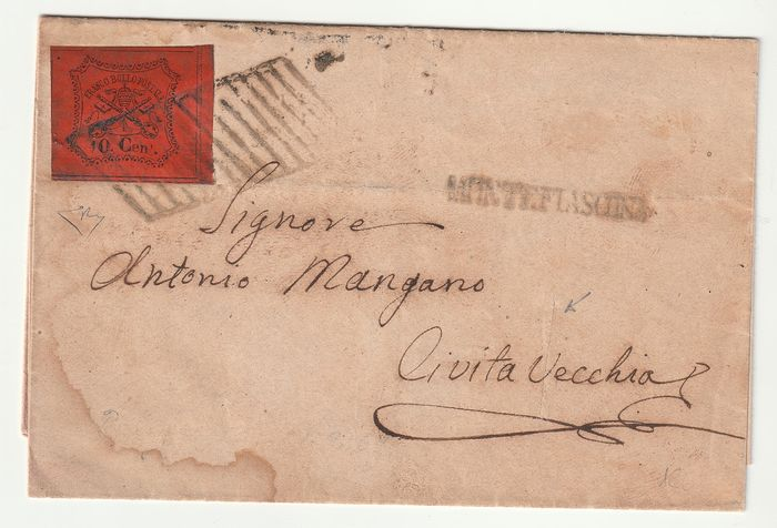 Pauselijke staat 1867 - 10 c. orange vermilion first day of issue on letter from Bagnorea to Civitavecchia N. 17