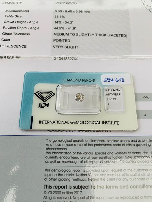 Diamond - 1.00 ct - Brilliant - D (colourless) - IF (flawless), LC (loupe clean)