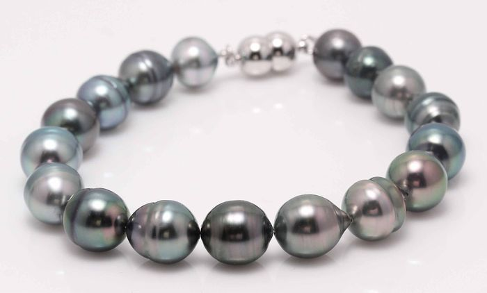 no reserve - 925 Silver - 8.5x9.5mm Multi Colour Tahitian Pearls - Bracelet