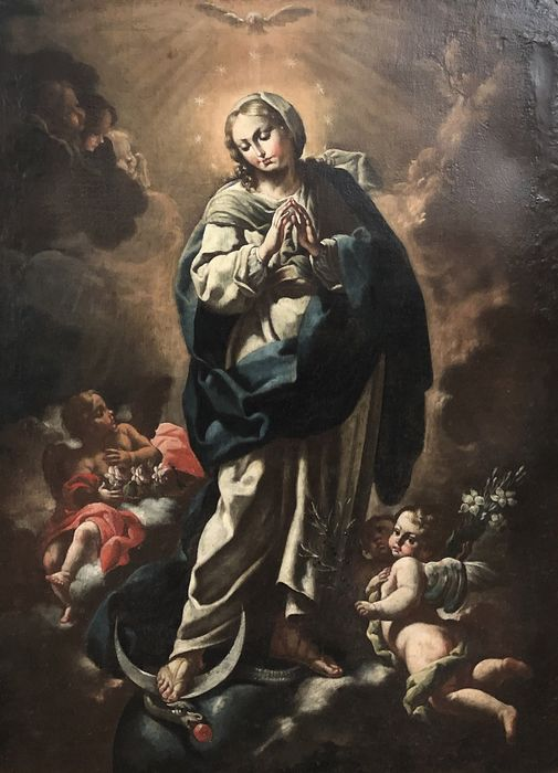Cerchia di Francesco Solimena  - Madonna con puttini