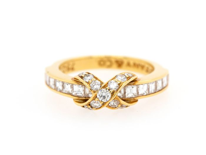 Tiffany & Co. signature X crossover - 18 quilates Oro amarillo - Anillo Diamante