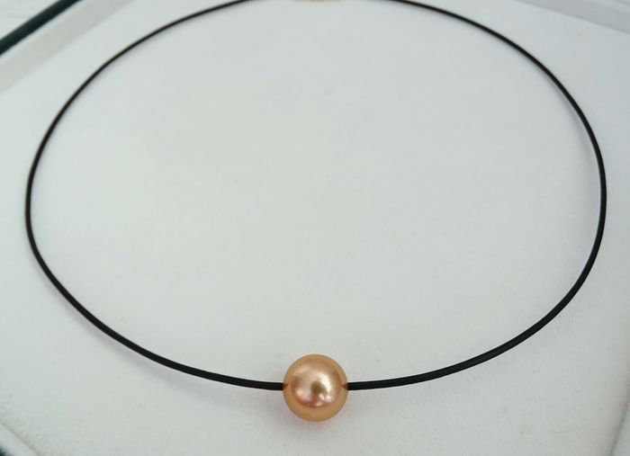 FedEx DELIVERY - Golden south sea pearl, Natural 24K Golden Saturation 11.2 mm - Necklace, Leather Choker - 9.81 ct