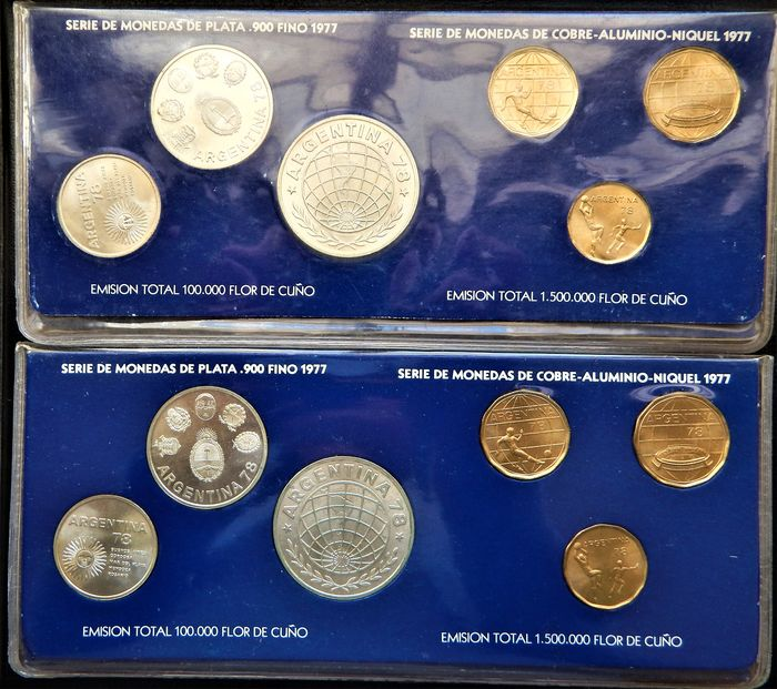 Argentina - 20, 50, 100, 1000, 2000 & 3000 Pesos 1977 'World Cup Soccer Championships 1978' (12 coins) in 2 sets