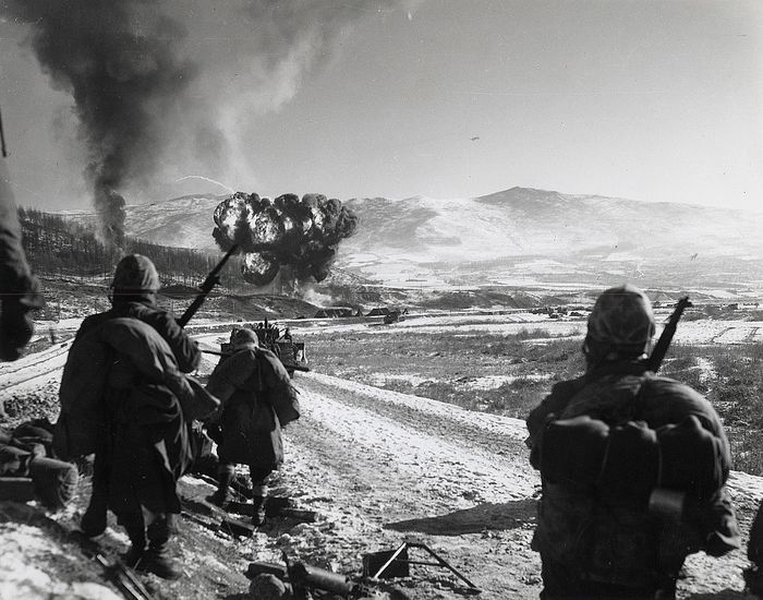 Cpl. McDonald (XX)/Defense Dept. Photo - Marines Watch U.S. Planes Drop Napalm, Korean War, 1950