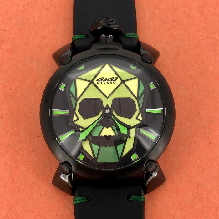 "GaGà Milano - Manuale Bionic Skull 48MM Black PVD Green LIMITED EDITION - 5062.03S ""NO RESERVE PRICE"" - Unisex - BRAND NEW"
