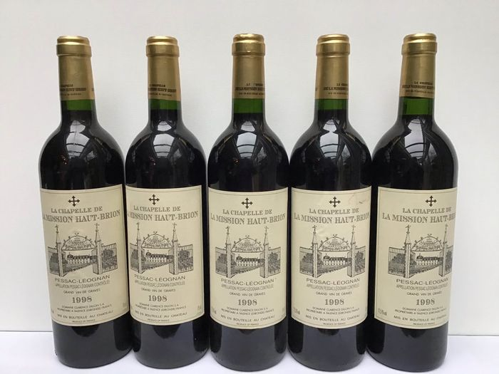 1998 La Chapelle de La Mission Haut-Brion, 2nd wine of Ch. La Mission Haut-Brion - Pessac-Léognan - 5 Bouteilles (0,75 L)
