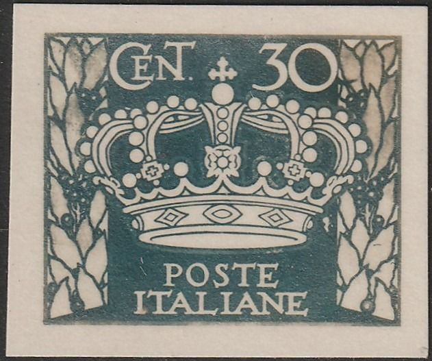 Königreich Italien 1923 - Grassi specimen stamp, 30 c. dark green grey Apollo of Veii, very rare, certified