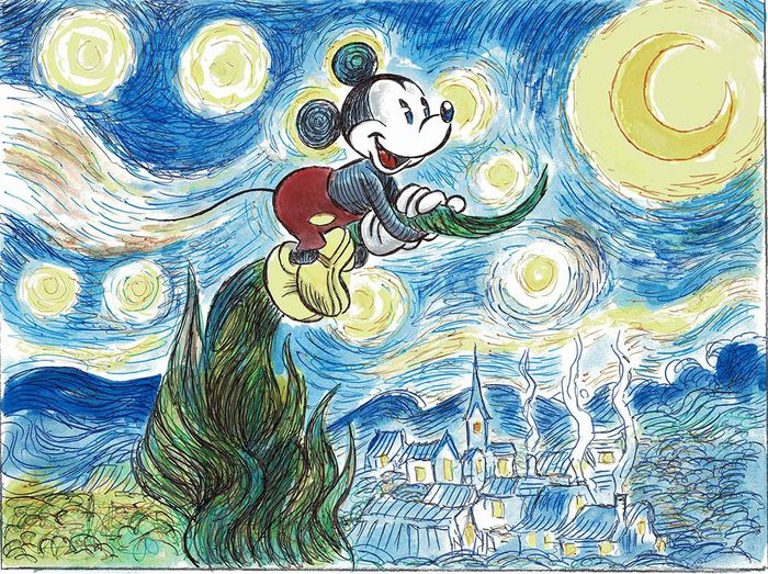 Mickey Mouse inspired by Vincent Van Gogh - Original Painting - Tony Fernandez - Acrylic Art