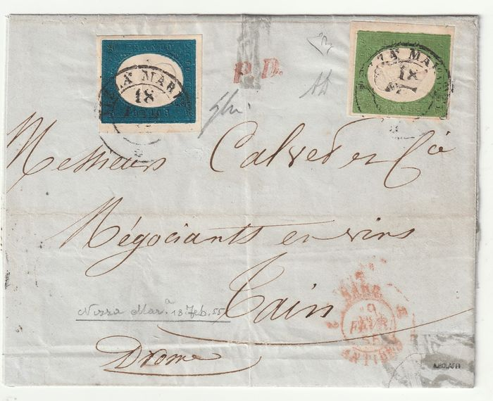 Sardinië 1855 - 3rd issue 5 c. + 20 c. with large margins from Nice Maritime to Tain, certified NN.7+8