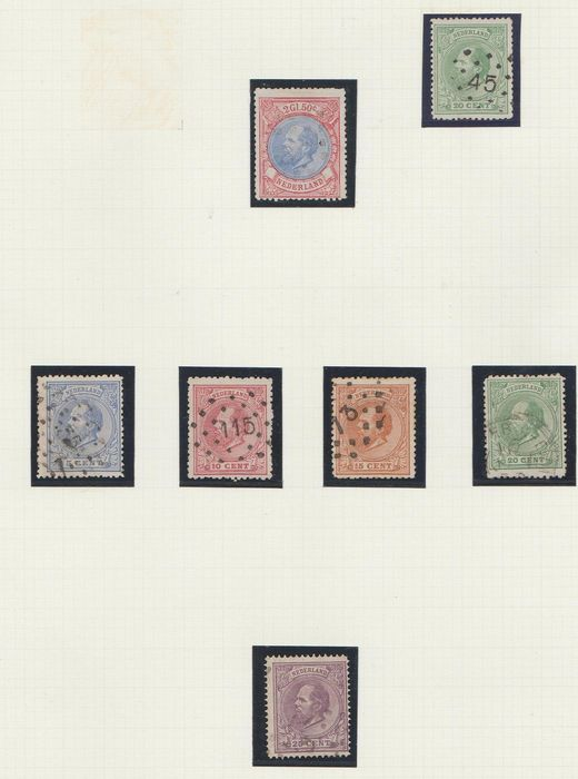 Netherlands 1872/1888 - Collection Fifth issue on types and perforations - NVPH 19/29