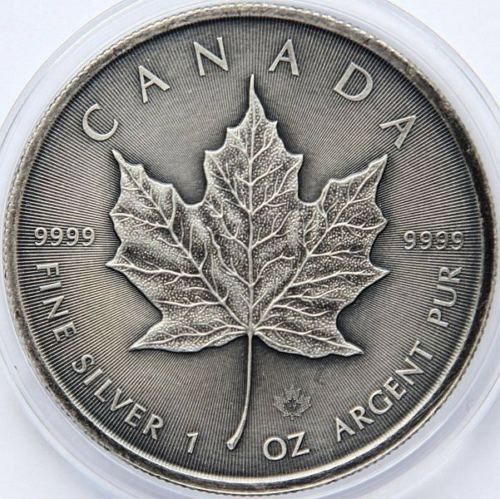 "Canada - 5 Dollar 2017 - ""Maple Leaf"" Antique Finish- 1 Oz - Silver"