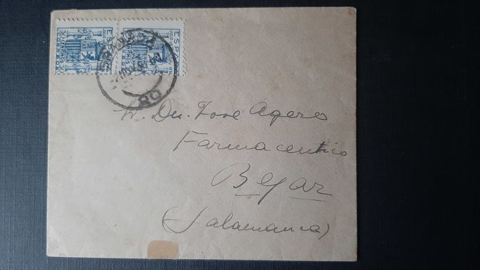 Spanje 1936 - Coat of arms of Spain in pair. Complete letter with postmark from Granada - Edifil 801