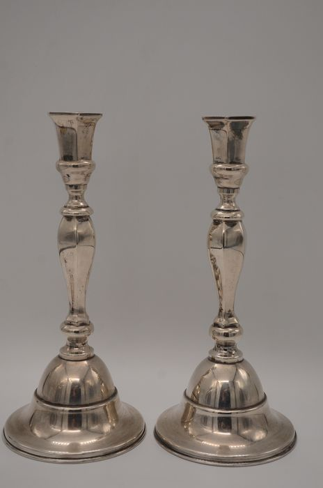 Shabbat candlesticks - .800 silver - probably Germany - Early 20th century