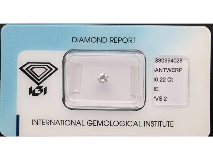1 pcs Diamond - 0.22 ct - Brilliant - E - VS2 ***No Reserve***