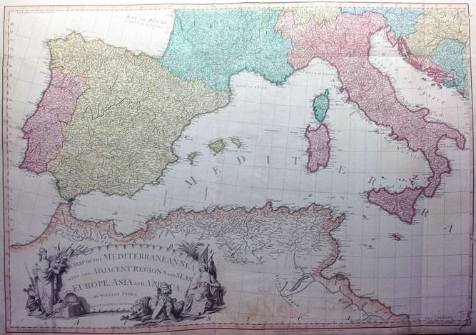 Földközi-tenger, Italia, Spagna, Nord Africa; William Faden (1749-1836) - A Map of the Mediterranean Sea with the Adjacent Regions and Seas in Europe, Asia and Africa - 1781-1800
