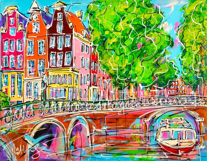 Mathias - Canal of Amsterdam, two bridge and tourist boat