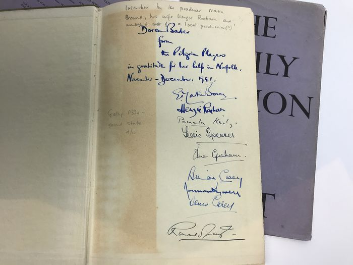 T.S. Eliot - The Family Reunion (signed by producer and cast of Eliot's play) - 1939
