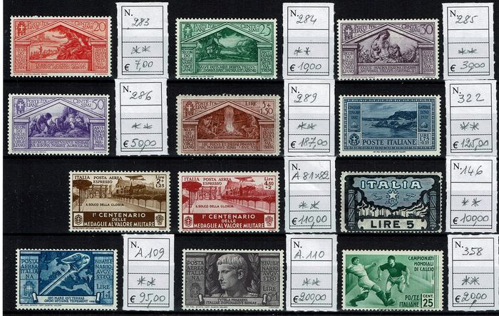 Italy Kingdom 1923/1937 - Lot composed of loose stamps ** MNH