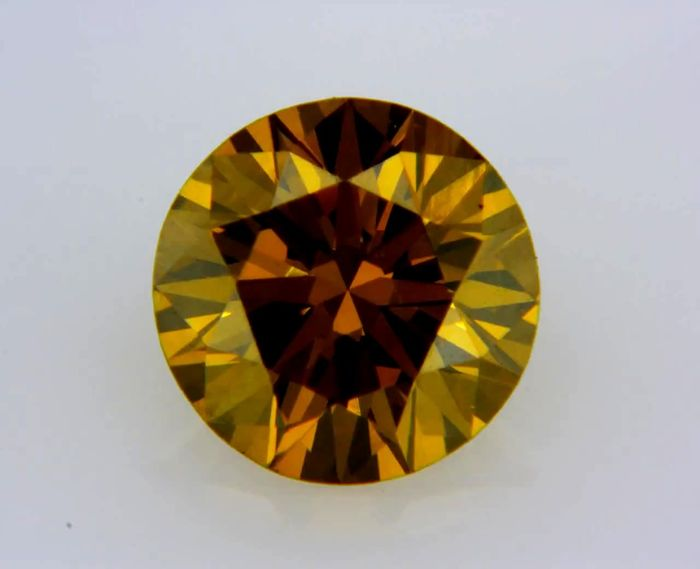 1 pcs Diamond - 0.53 ct - Round - fancy deep brown yellow - VS1