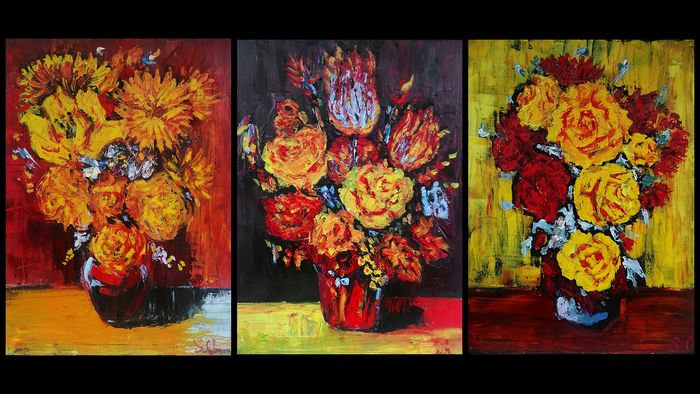 Solomon Grace - Triptych. Contemporary still life with holland flowers