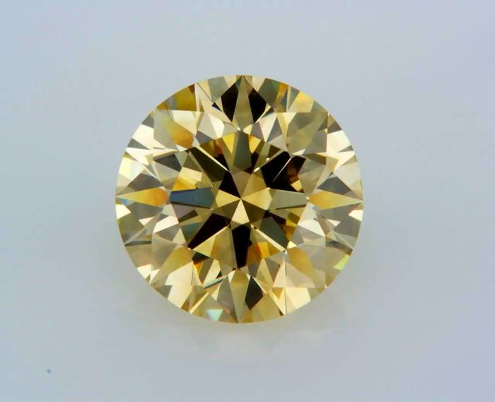 1 pcs Diamante - 3.55 ct - Redondo - fancy brown yellow - VVS1