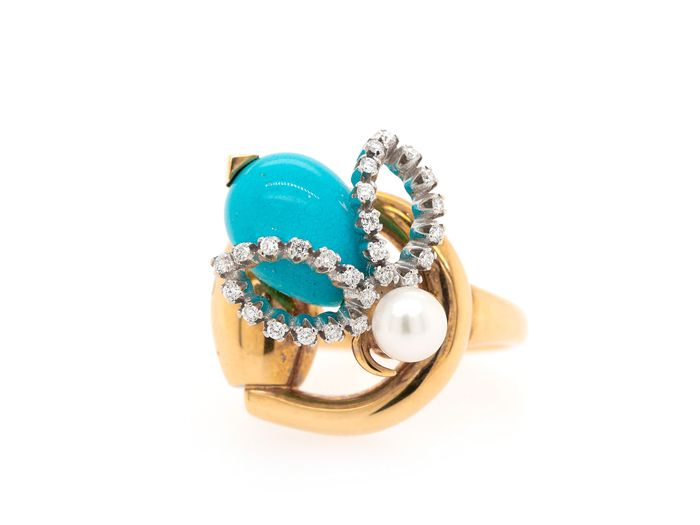 Gucci Turquoise Pearl Diamond  - 18 kt. Yellow gold - Ring