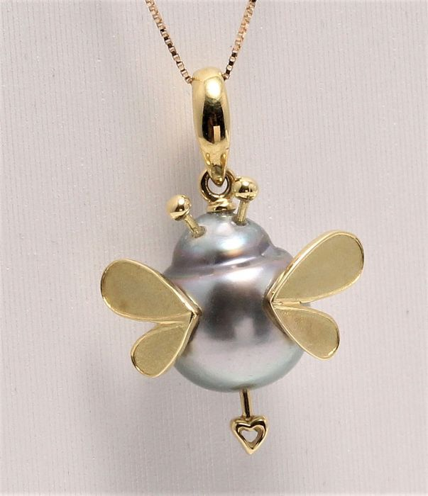 NO RESERVE PRICE - 18 kt. Yellow Gold - 9.5mm Peacock Tahitian Pearl - Necklace with pendant