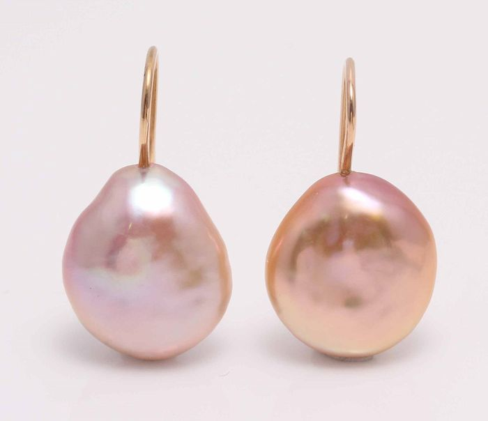 NO RESERVE PRICE - 18 kt. Yellow Gold - 14x15mm Beautiful Colour Cultured Pearl Drops - Earrings