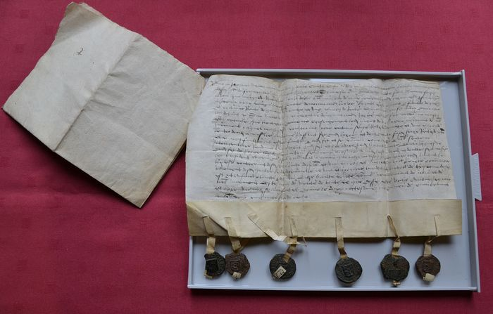 Namur court of justice - Manuscript; Complaining of non-payment of annuities (plus a recent genealogical and heraldry study) - 1550