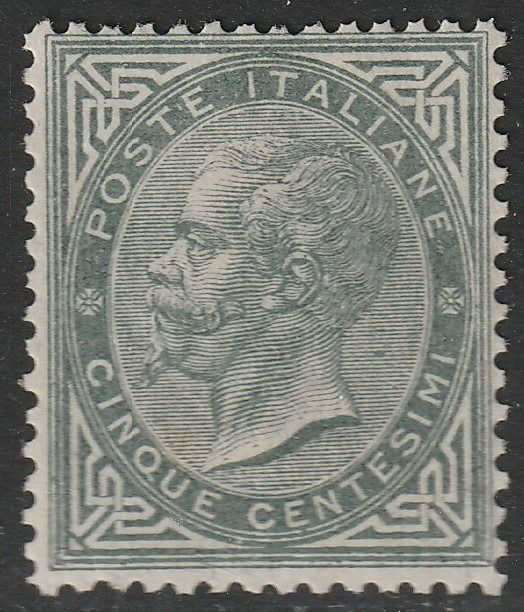Royaume d'Italie 1866 - 5 c. dark grey green, Turin issue - Sassone N. T16